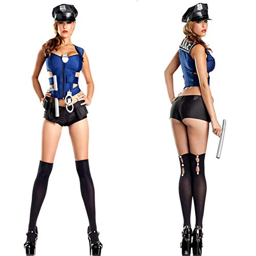 GYH Policewoman Ladies Fancy Dress Cop Officer Uniform Womens Costume Outfit Women Adult Sexy Police Officer Costume