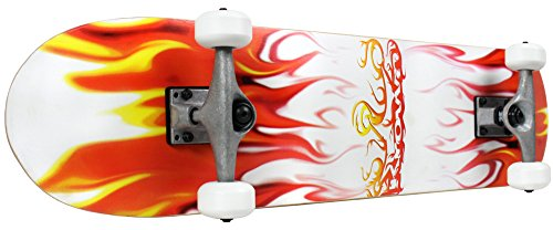 Krown Rookie Complete Skateboard,Red/White Flame