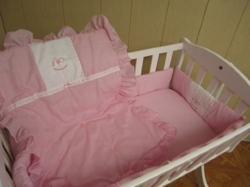 Baby Doll Bedding GinghamMini Crib/Port-a-Crib Bedding Set, Rocking Horse Pink