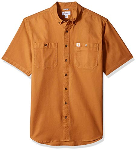 - Carhartt Men's Big and Tall Big & Tall Rugged Flex Rigby Short Sleeve Work Shirt, 211-Carhartt Brown, Large