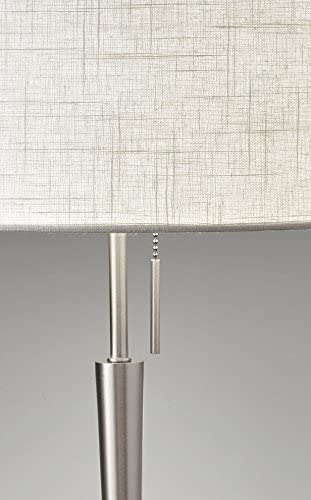 "Adesso 3456-22 Hayworth 22"" Table Lamp, Satin Steel, Smart Outlet Compatible"