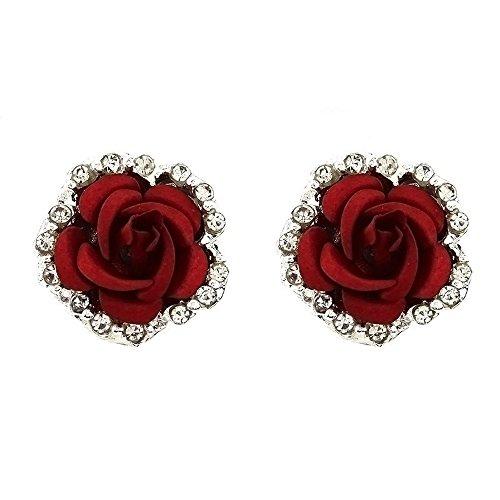 Gbell Elegant Fine Cute Rose Flower Stud Earrings for Women Lady Girls Party Date Ball Wearing Jewelry Statement Gift,Black Blue Green Purple Red Rose Flower Earrings