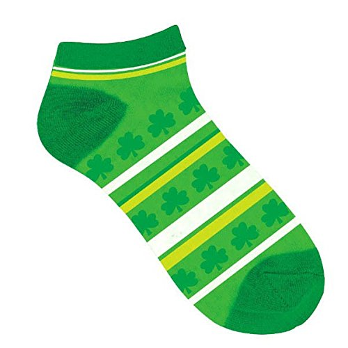Lucky Irish Green St. Patrick's Day Striped Ankle Socks Party Wearables, Fabric, Standard Adult Size, Pack of (Costumes Inc Irish Dance)