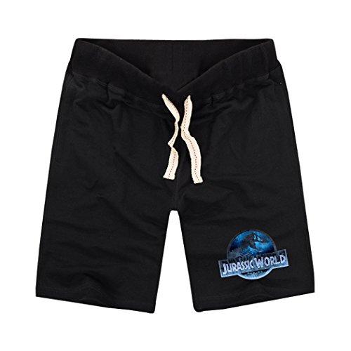 [Sysuer Mens Jurassic World Logo Cotton Gym Shorts Casual Short Black] (Anaconda Sweatpants)