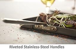 All-Clad E7959664 HA1 Hard Anodized Nonstick Dishwasher Safe PFOA Free Panini Pan with Press Cookware, 12-Inch, Black