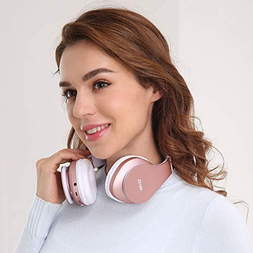 Bluetooth Over-Ear Headphones, Zihnic Foldable Wireless and Wired Stereo Headset Micro SD/TF, FM for Cell Phone,PC,Soft Earmuffs &Light Weight for Prolonged Waring (Rose Gold) 41Y1bMN xQL