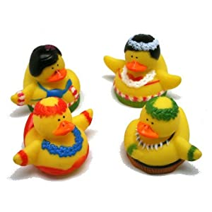 Dozen Vinyl Hula Dancer Rubber Duckies by FE