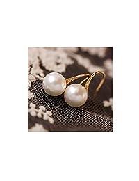 Dainty 14K Gold Large Pearl Dangle Hoop Thread Earrings for Grandmother Women Girls Gift
