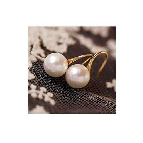 ae2673fc9 Dainty 14K Gold Large Pearl Dangle Hoop Thread Earrings for Grandmother  Women Girls Gift