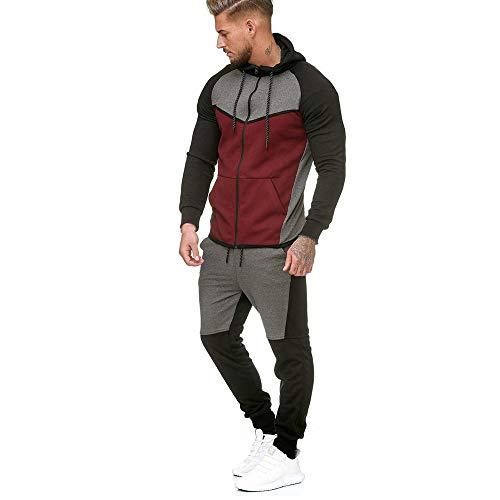 POHOK Clearance!Mens Top Pants Sets Splicing Zipper Sweatshirt Sports Suit Tracksuit