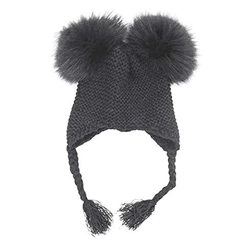 Raylans Baby Toddler Kids Warm Double Real Fur Pom Crochet Knit Beanie Hat Cap,Black - Homemade Crochet