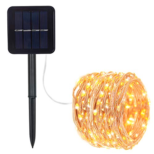 Prefer Green Solar String Lights 100 LED 33ft 8 Modes Copper Wire Lights Indoor/Outdoor Waterproof Decorative String Lights for Garden, Patio, Home, Yard Party, Wedding, Christmas (Warm White)