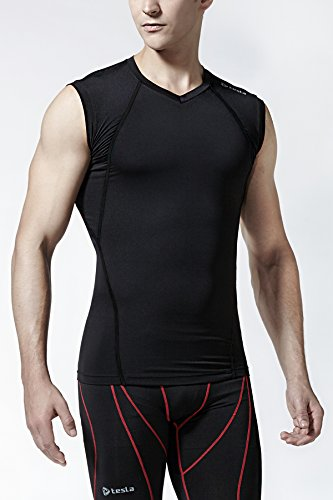 Tesla Men's Cool Dry Compression Muscle Tank Baselayer V Neck Sleeveless V15 / MUV06