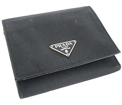 70a411fe7c1d Amazon | プラダ 三つ折り財布 ナイロン/レザー ブラック [中古] | 財布