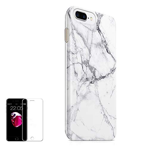 Obbii Case for iPhone 7 Plus/ 8 Plus /6 Plus/6S Plus White Marble Slim TPU Flexible Soft Silicone Protective Durable Case with Clear Screen Protector Compatible with iPhone 7/8 Plus/6/6SPlus/ (5.5'')