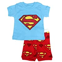 """Big S "" Boys Shorts 2 Piece Pajama Set 100% Cotton Blue,Size 6Mos-10Yrs"