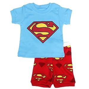 """Big S "" Boys Shorts 2 Piece Pajama Set 100% Cotton Blue,Size 6Mos-10Yrs"