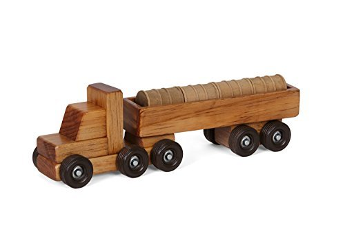 Amish-Made Wooden Barrel Semi Truck Toy