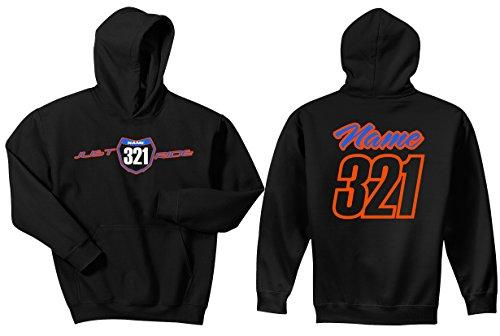 Just Ride Motocross Number Plate Custom Personalized Hoodie Sweat Shirt (Medium, Orange/Light Blue-White #'S) (Flashlight Sx)