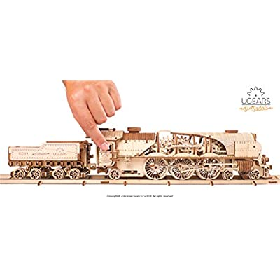 UGEARS Mechanical Model - V-Express Steam Train with Tender: Toys & Games
