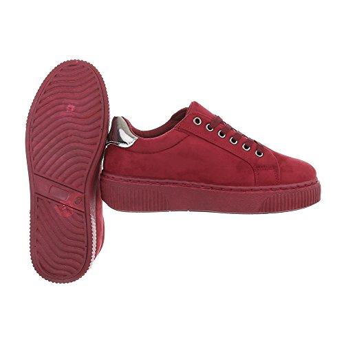 Ital-Design Sneakers Low Damenschuhe Sneakers Low Sneakers Schnürsenkel Freizeitschuhe Weinrot SP1810