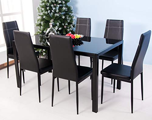 - Merax 7-Piece Glass Top Dining Set