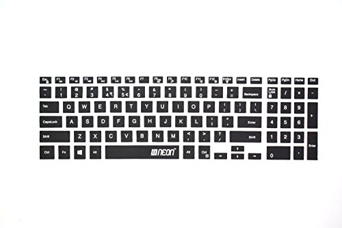 Neon Keyboard Protector Silicone Skin Cover for Dell Inspiron 5000 5558 15.6 inch Laptop,Black