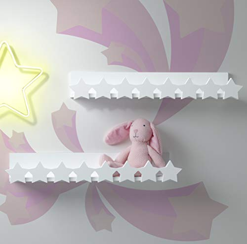 Shelf Wall Star - Decorative Floating Shelves for Baby Nursery, Kids Bedroom, Home Decor - Mounted Wall Shelf, Set of 2, Cute Star Design - White Wooden Toy Rack and Organizer - Easy Installation, 22.5