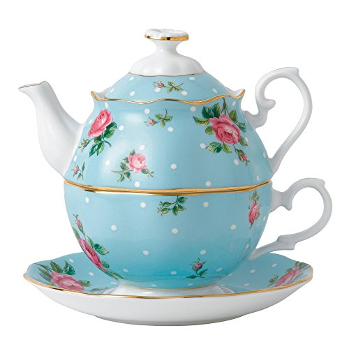 Royal Albert China New Country Roses Polka Blue Tea for One, White ()