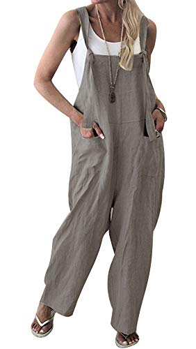 TOP-MAX Women's Loose Suspender Trousers Wide Leg Overalls Jumpsuit Romper Harem Pants Plus Size]()