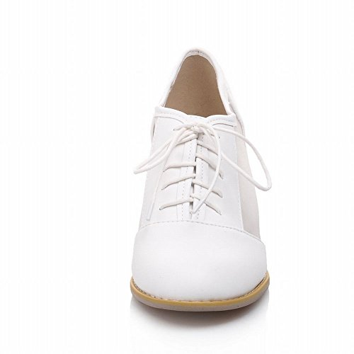 Carolbar Mode Womens Lace Up Voile Maille Décontracté Mi Chunky Talon Oxfords Chaussures Blanc