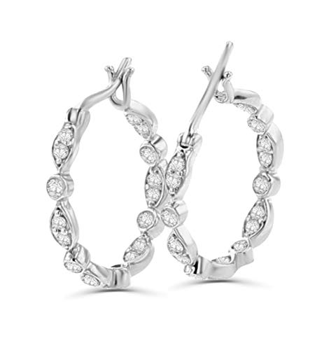 - 14K White Gold Hoop Earrings 1/4ctw Diamonds Round Pave Diamonds Inside Out 17mm