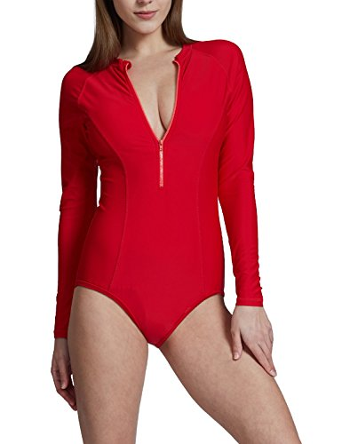 Baleaf Women's Long Sleeve One Piece Sun Protection Rash Guard UPF 50+ Swimsuit Red Size - Guard Rash Red Womens