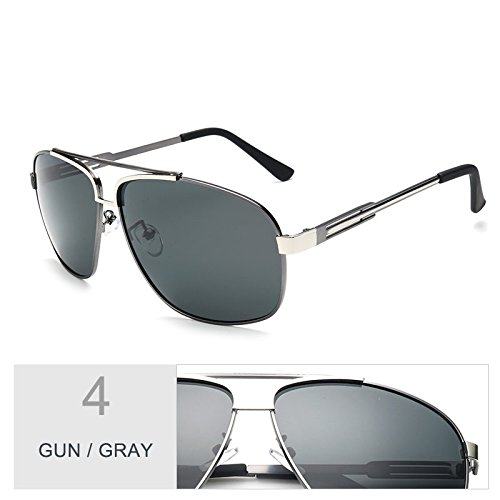 Gafas de Verde oscuro sesgada TL hombres Sunglasses aviador Gray sol Gun para oval Negro 5EzqSaxz