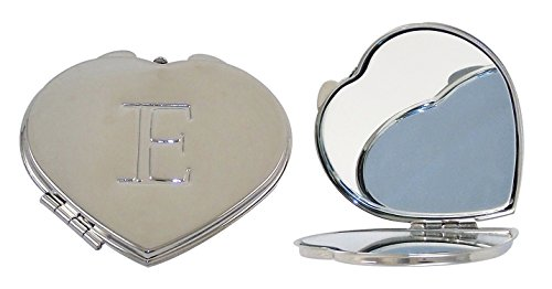 Ganz Compact Purse Mirror with Dual View, Monogram E in Center of Heart-Shape Metal Case. ()