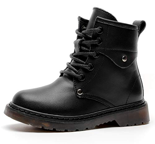 DADAWEN Boys Girls Classic Leather Waterproof Outdoor Side Zipper Lace-Up Winter Ankle Combat Boots
