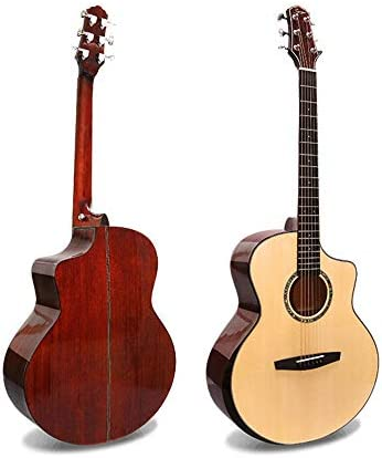 アコースティックギター Quandanjiフォークバラード全シングルギターのライトハンドベニヤ 小学生 大人用 ギター初級 セット (色 : Spruce peach heart, Size : 41 inches)