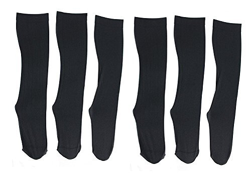 Harve Bernard Clothing (Harve Benard Womens Queen Size Knee High Trouser Socks (6 Pair) (All Black))