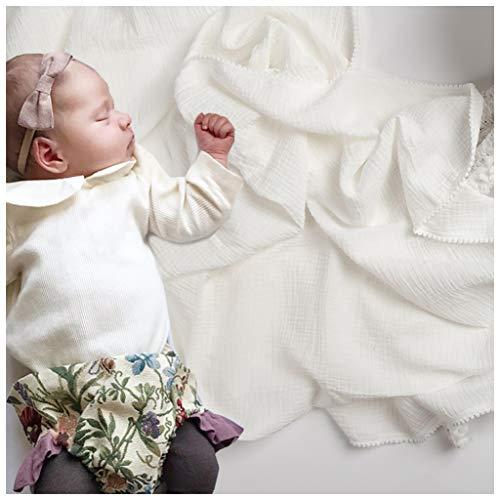 Newborn Blanket Pom Pom Swaddle Cotton Crib Blanket 47 x 47 inch Perfect Baby Shower Gift (White+ White)