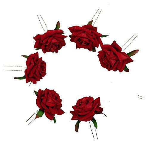 Sanrich 6pcs Rose Flower Hair Pins U Shaped Wedding Hair Cli
