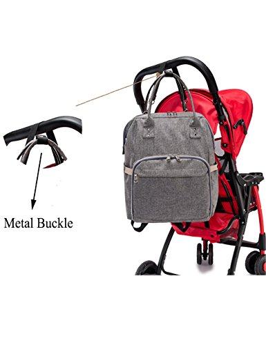 iSuperb multifunción resistente al agua de gran capacidad bebé para cambio de pañales bolso mochila bolso correas para el carrito con un montón de bolsillos para Papá y Mamá negro negro Linen blue
