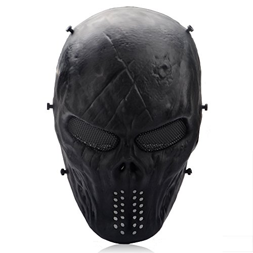 Thiroom Full Face Tactical Airsoft Paintball Cosplay Mask with Metal Mesh Eye Protection M06 Black For Airsoft/BB Gun/ CS Game and (Airsoft Full Face Mask)