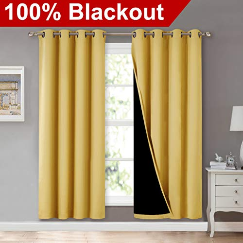 NICETOWN 100% Blackout Window Panel Curtains, Full Light Blocking Drapes with Black Liner for Nursery, 72 inches Drop Thermal Insulated Draperies (Yellow, 2 Pieces, 52 inches Wide Per Panel)