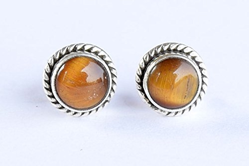 925 Sterling Silver Tiger eye Stone Post Stud Earring Gemstone Earring 6 MM Round Girl Women Gift ()