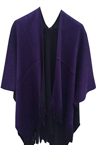 - Timemory Womens Winter Knitted Faux Cashmere Poncho Capes Shawl Sweater Purple