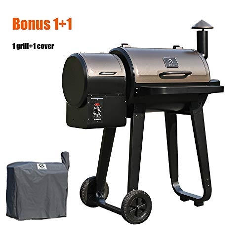 Z GRILLS Wood Pellet Grill and Smoker 2019 New Model ZPG-450A Ourdoor BBQ Grill with Patio Cover
