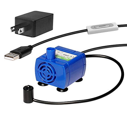 Veken Replacement Pump for Cat Water Fountain Pet Fountain Ultra Quiet Long Lifespan Water Pump with Adaptor, USB Cable, LED Lights