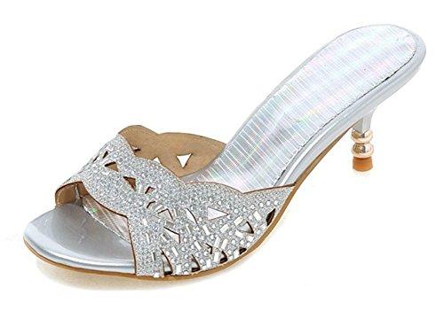 Aisun Women's Fashion Rhinestone Kitten Heels Mule Sandals Silver HKKVTrs