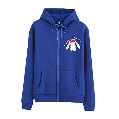 Woman Tops Casual Loose O-Neck Dog Print Zipper Hoodie Printed Pullove Coat