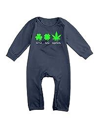 Boy & Girl Infants Superlucky Hemp Leaf Long Sleeve Climb Jumpsuit Navy